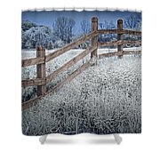 Wooden Fence Of A Friesian Horse Pasture On Windmill Island Shower Curtain