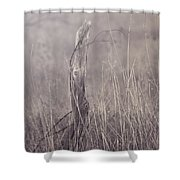 Wooden Fence Post On A Foggy Winter Day Shower Curtain