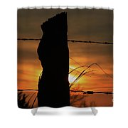 Wooden Fence Post Sunset Shower Curtain