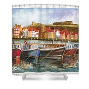 Wooden Fishing Boats In The Whitby Fleet Of Northern England Shower Curtain