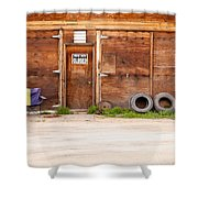 Wooden Gate Of Rural Timber Building Closed Sign Shower Curtain