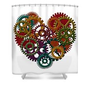Wooden Gears Forming Heart Shape Illustration Shower Curtain