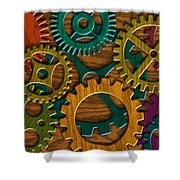Wooden Gears On Wood Grain Texture Background Shower Curtain