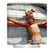 Wooden Jesus Shower Curtain
