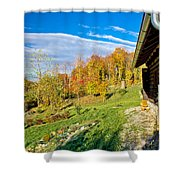 Wooden Lodge In Autumn Mountain Nature Shower Curtain