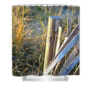 Wooden Post And Fence At The Beach Shower Curtain