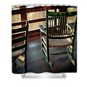 Wooden Rocking Chairs On A Deck Shower Curtain