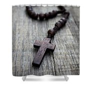 Wooden Rosary Shower Curtain
