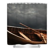 Wooden Rowboat Shower Curtain