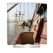 Wooden Sailingships Shower Curtain