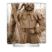 Wooden Sherwood Forest Carving Shower Curtain