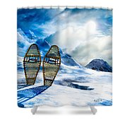 Wooden Snowshoes  Shower Curtain by Bob Orsillo