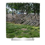 Wooden Spiked Fence Shower Curtain