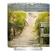 Wooden Stairs Over Dunes At Beach Shower Curtain