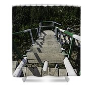 Wooden Steps Coming Down From A Watchtower Shower Curtain