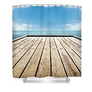 Wooden Surface Sky Background Shower Curtain