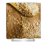 Wooden Tablespoon Serving Of Uncooked Brown Rice Shower Curtain