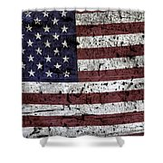 Wooden Textured U. S. A. Flag Shower Curtain
