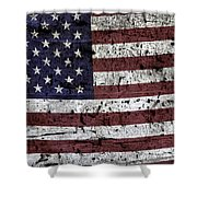 Wooden Textured U. S. A. Flag Shower Curtain