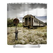 Wooden Train - Final Resting Place  Shower Curtain