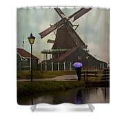 Wooden Windmill In Holland Shower Curtain