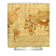 Wooden World Map 2 Shower Curtain