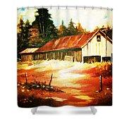 Woodland Barn In Autumn Shower Curtain