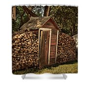 Woodpile And Shed Shower Curtain