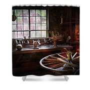 Woodworker - The Wheelwright Shop  Shower Curtain