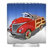 Woody Peddle Car Shower Curtain