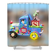 Woody Wagon Shower Curtain