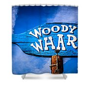 Woody's Wharf Sign Newport Beach Picture Shower Curtain