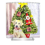 Woof Merry Christmas Shower Curtain