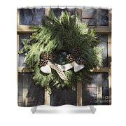 Wool And Feather Wreath Shower Curtain