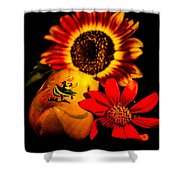 Woold Shoe With Flowers Shower Curtain