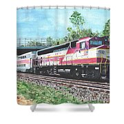 Worcester Bound T Train Shower Curtain