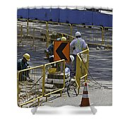 Workers Preparing The Road Surface And Sides Preparing For The Formula 1 Shower Curtain