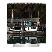 Working Boat Shower Curtain by Bill Gallagher