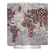 World Map Typography Artwork Shower Curtain