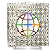 World Globe Earth Travel Graphic Digital Colorful Pattern Signature Art  Navinjoshi Artist Created I Shower Curtain