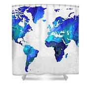 World Map 17 - Blue Art By Sharon Cummings Shower Curtain by Sharon Cummings