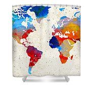 World Map 18 - Colorful Art By Sharon Cummings Shower Curtain