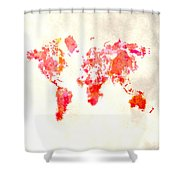 World Map 1h Shower Curtain