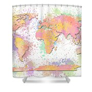 World Map 2 Digital Watercolor Painting Shower Curtain
