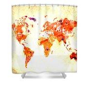 World Map 2d Shower Curtain