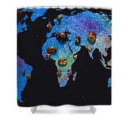 World Map And Sagittarius Constellation Shower Curtain