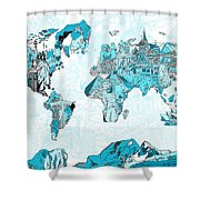 World Map Blue Collage Shower Curtain
