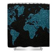World Map Blue Vintage Fabric On Dark Leather Shower Curtain