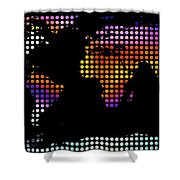 World Map Colourful Dots #2 Shower Curtain