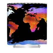 World Map Colourful Dots  Shower Curtain